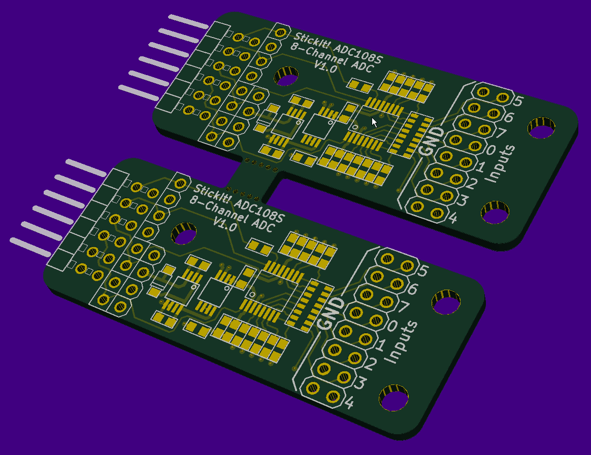 StickIt! ADC108S PCB array in 3D