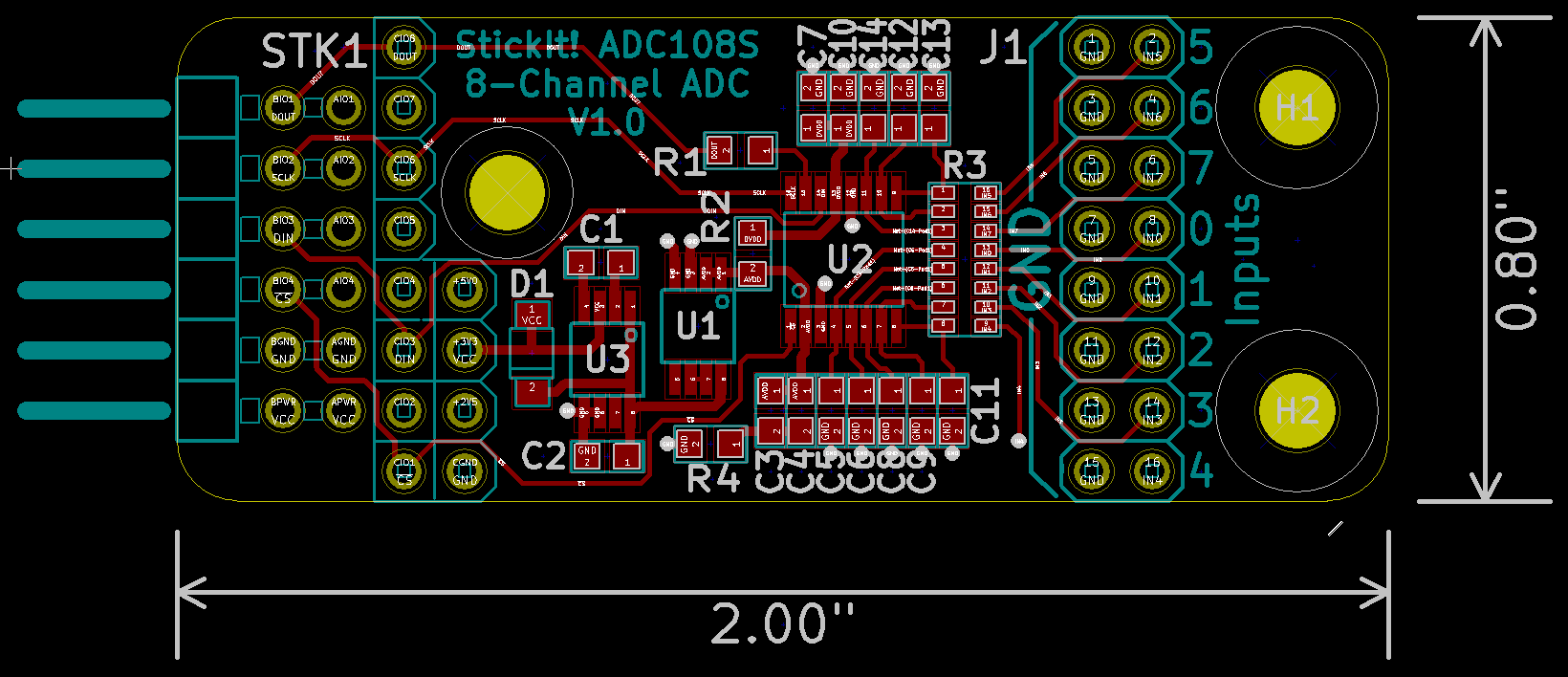 StickIt! ADC108S PCB layout (front)