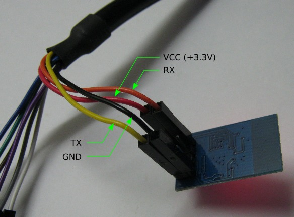 Connection of the C232HM cable to the ESP8266 module pin header.