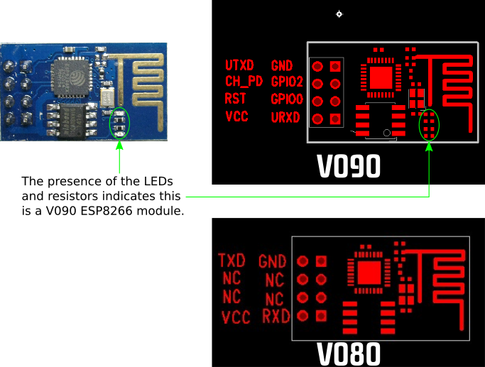 PCB layouts for versions V080 and V090 of the ESP8266 module.
