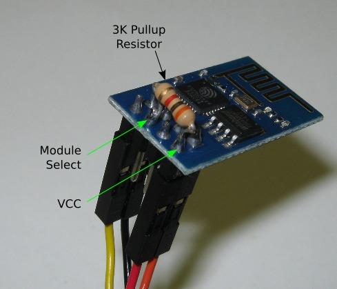 Pullup resistor for the ESP8266 module chip-select pin.