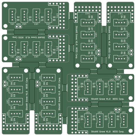 Eight PCB array.