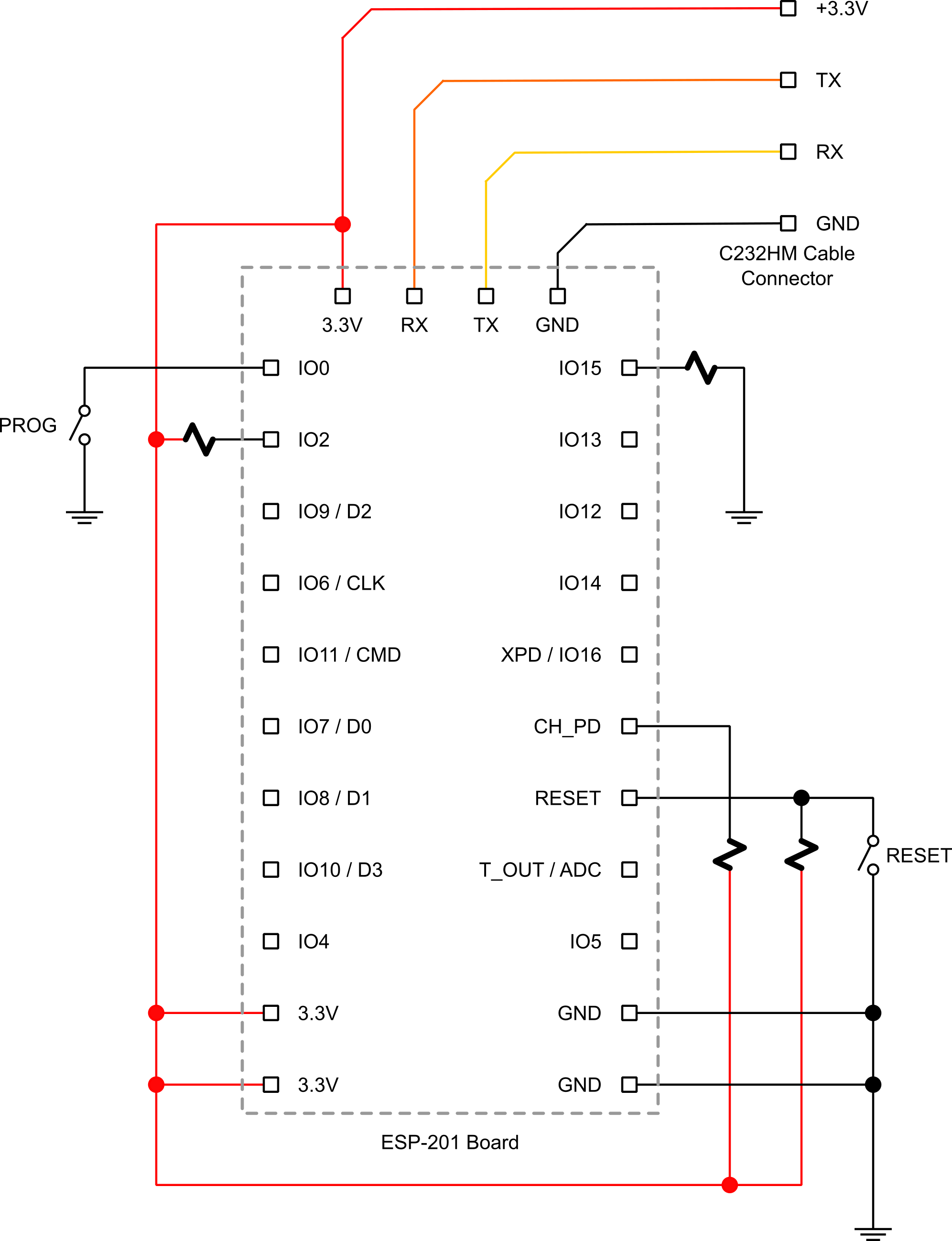 ESP-201 flash programming board schematic.